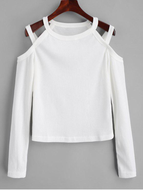 latest Cold Shoulder Ribbed Knitted Top - WHITE XL