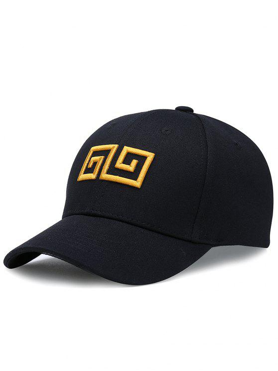 outfits Geometric Pattern Embroidery Adjustable Baseball Cap - BLACK