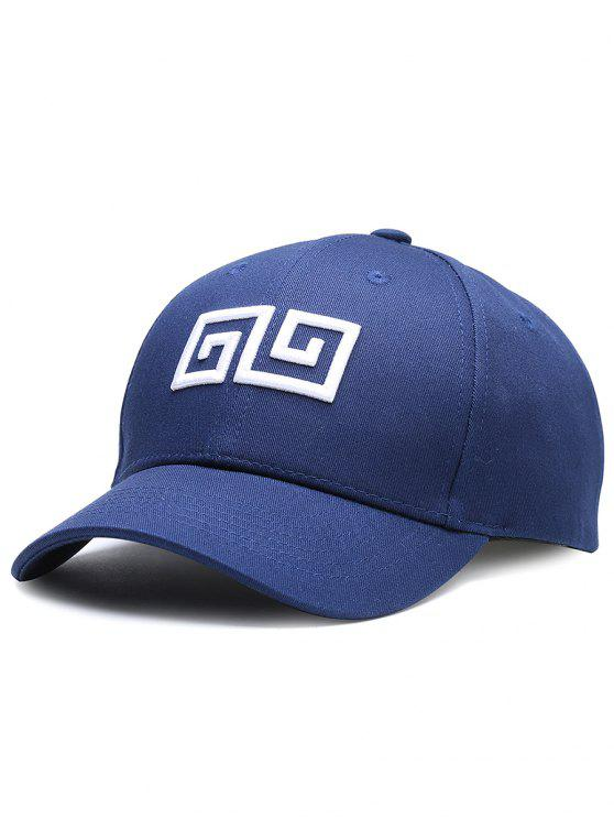 latest Geometric Pattern Embroidery Adjustable Baseball Cap - CERULEAN
