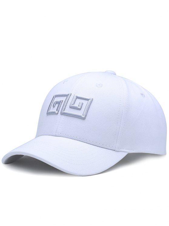 Geometrische Muster-Stickerei-justierbare Baseballmütze - Weiß