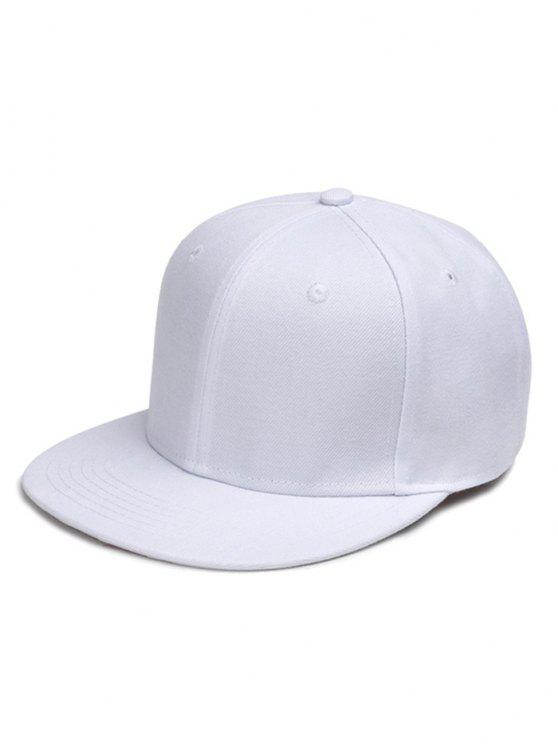 shops Line Embroidered Flat Baseball Cap - WHITE