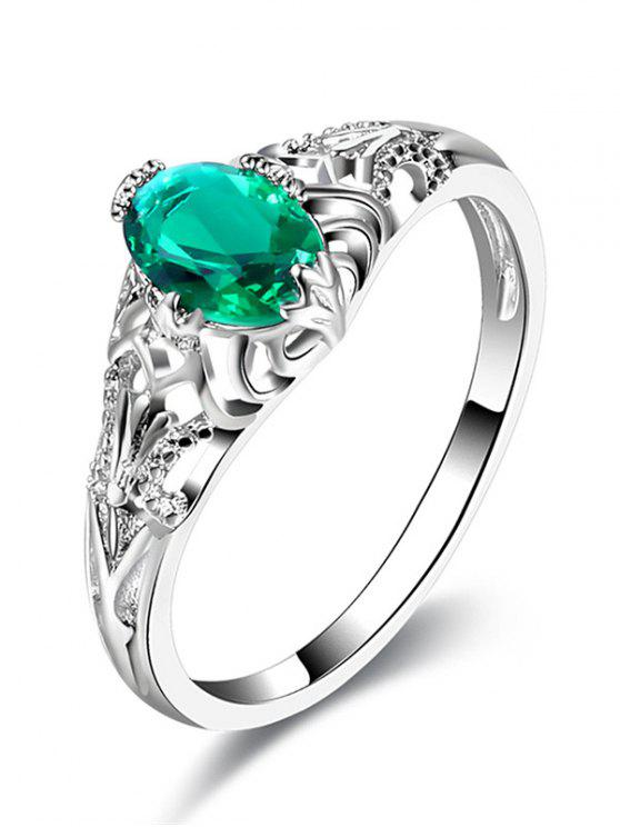 Faux Emerald Hollow Out Ring - Plata 7