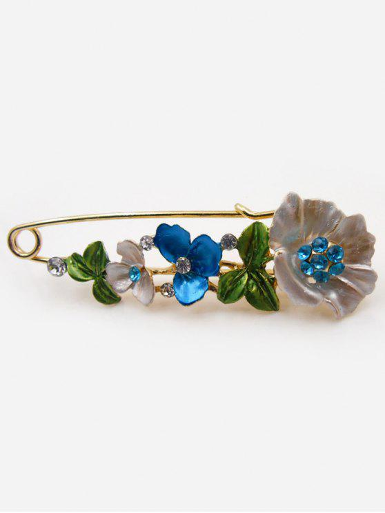 Alfiler de broche de diamante falso flor - Azul