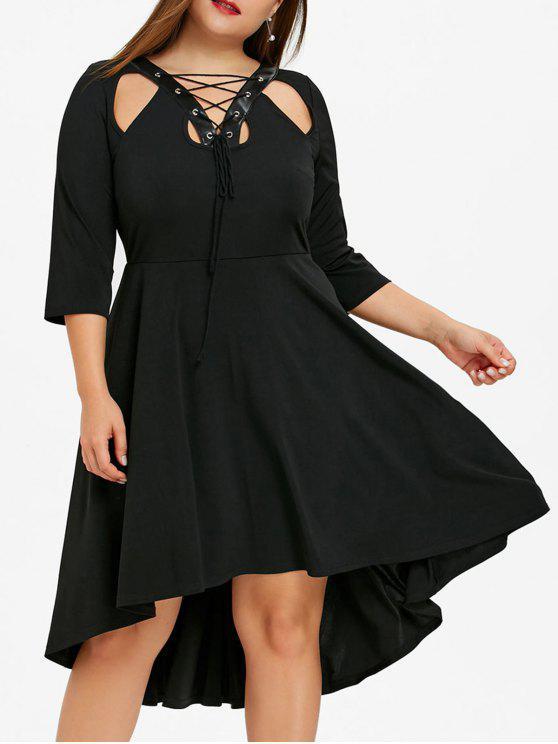 39e896eb16 37% OFF] 2019 Plus Size Cutout Lace Up Dip Hem Dress In BLACK ...