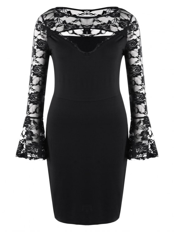affordable Plus Size Lace Insert Cut Out Mini Dress - BLACK 2XL