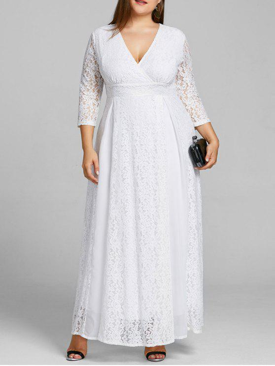 Plus Size Empire Waist Lace Surplice Dress