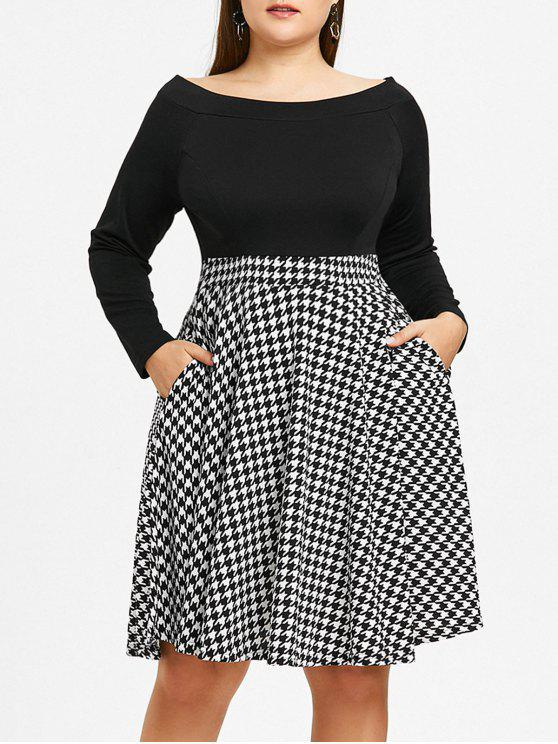 27% OFF] 2019 Plus Size Off The Shoulder Houndstooth Dress In BLACK ...