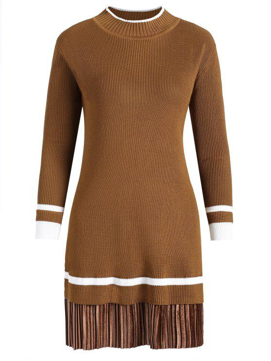 online Plus Size Velvet Panel Knitted Dress - DARK CAMEL 3XL