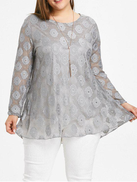 9b0589cba0c 22% OFF] 2019 Plus Size Lace Tunic Blouse In GRAY | ZAFUL
