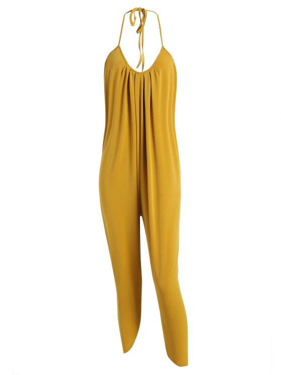 outfits Halter Drawstring Backless Jumpsuit - MUSTARD L
