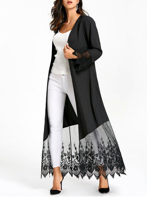 9872445eada307 29% OFF  2019 Lace Insert Open Front Long Coat In BLACK