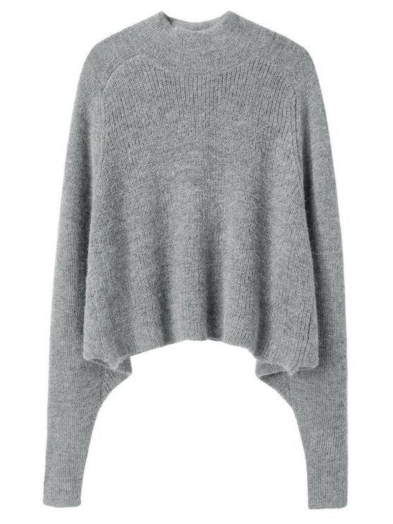 lady Dolman Sleeve Plain Sweater - GRAY ONE SIZE