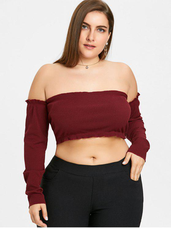 d3cf72bc004f8 28% OFF  2019 Ribbed Plus Size Off The Shoulder Top In WINE RED