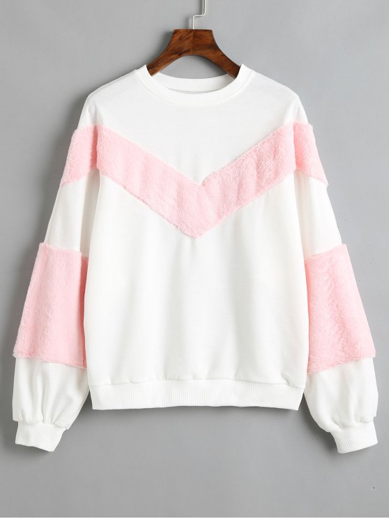 affordable Contrasting Textured Panel Sweatshirt - WHITE M