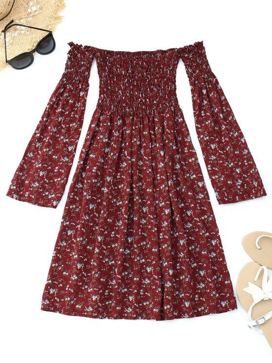 فستان مصغر بلا اكتاف سموكيد طباعة الأزهار - نبيذ أحمر M