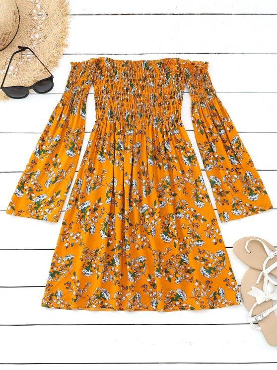 affordable Floral Smocked Off Shoulder Mini Dress - MUSTARD L