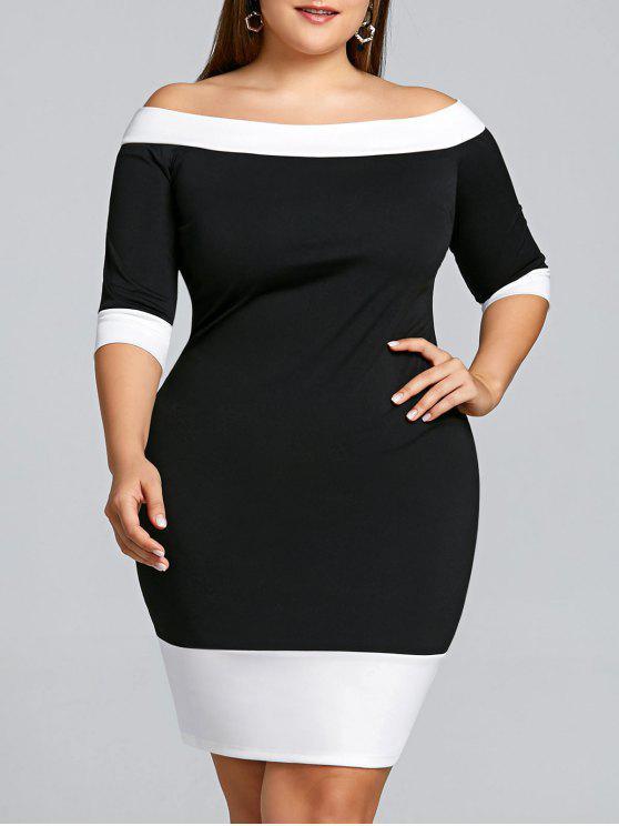 قبالة الكتف زائد الحجم اللون تريم غمد اللباس - أسود 5XL