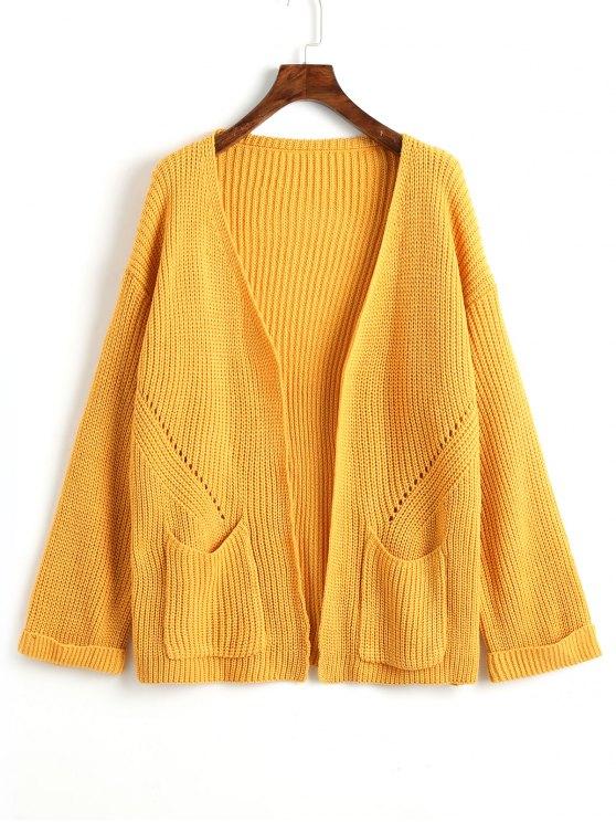 Jacke mit gerollten Ärmeln und offener Front - Dunkel Gelb Eine Größe