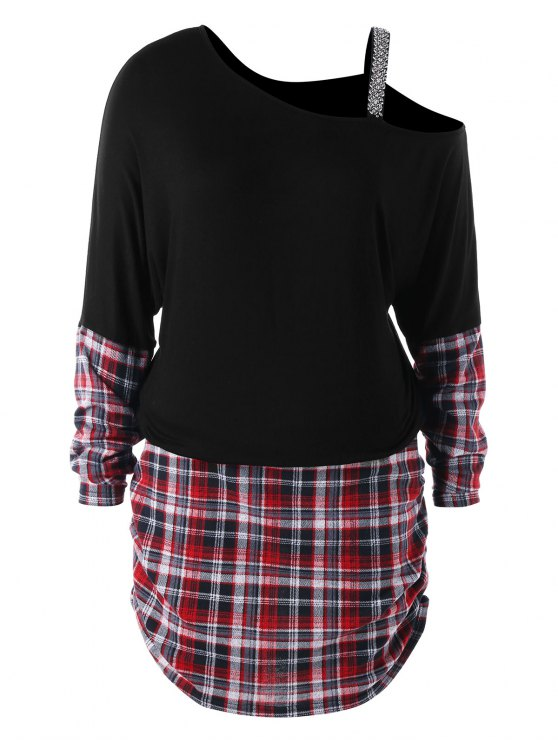 زائد حجم الانحراف طوق شيريد فستان الجانب - أسود 5XL
