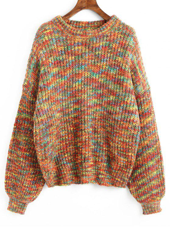 a103e3a31415 37% OFF  2019 Lantern Sleeve Chunky Knit Sweater In MULTI