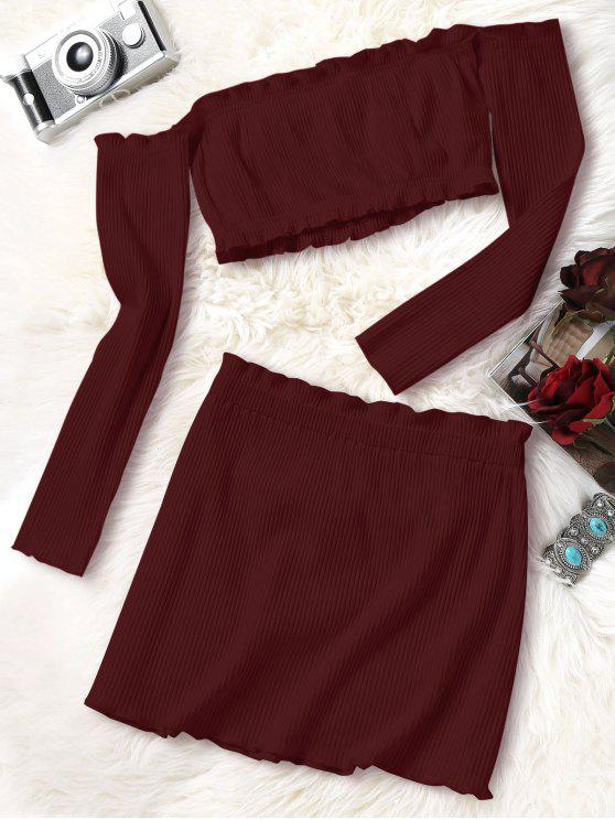 unique Knitted Cropped Off Shoulder Top and Bodycon Mini Skirt - WINE RED S