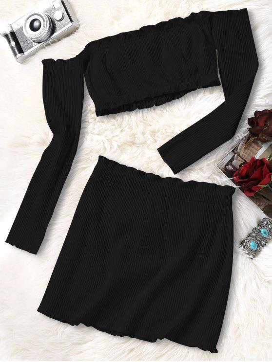 84acf1e8c84dc 55% OFF  2019 Knitted Cropped Off Shoulder Top And Bodycon Mini ...
