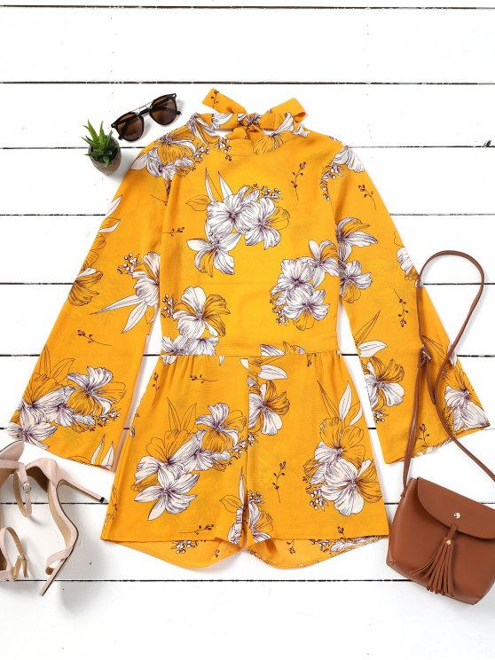 921fe5a06919 19% OFF  2019 Floral Bowknot Open Back Romper In YELLOW