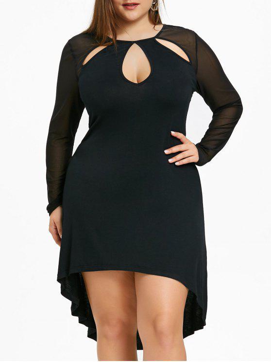21% OFF] 2019 Plus Size Sheer Keyhole High Low Dress In BLACK | ZAFUL
