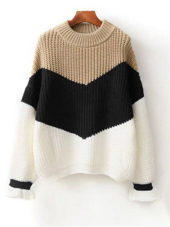 trendy Contrast Chunky Sweater - BLACK ONE SIZE