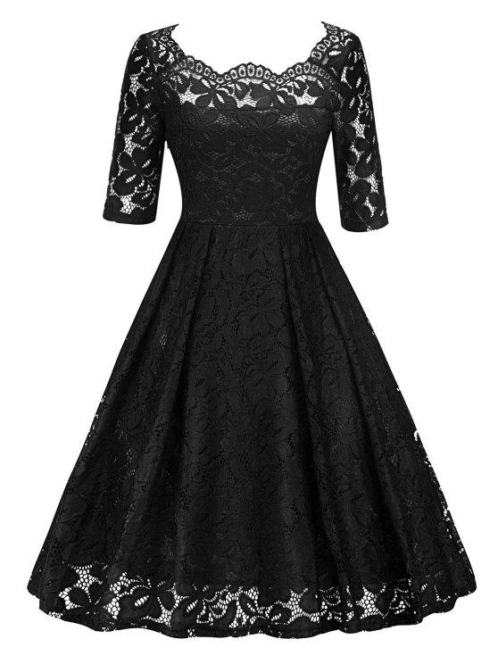2019 Vintage Lace Pin Up Party Dress In Black S Zaful