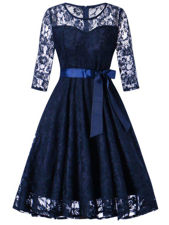 فستان دانتيل كلاسيكي - ازرق غامق M
