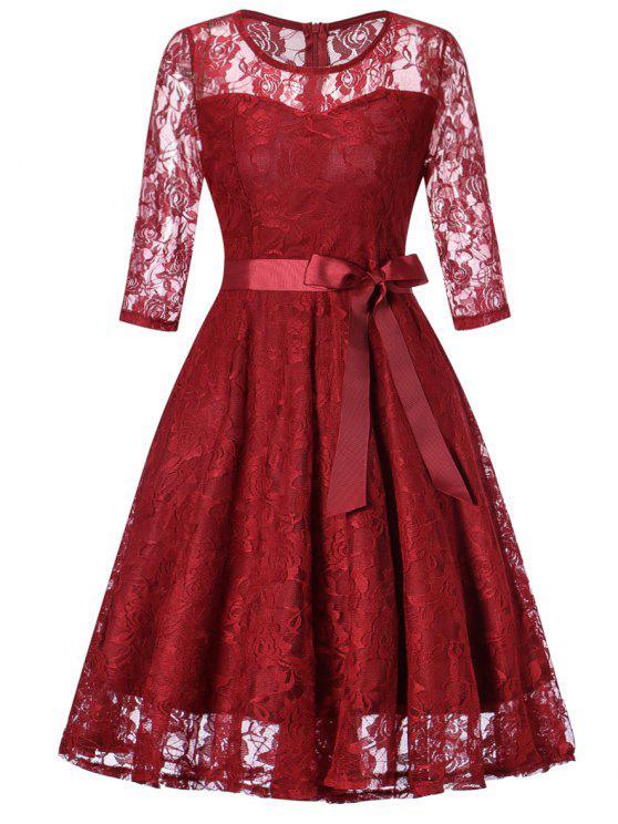 الدانتيل خمر صالح ومضيئة اللباس - نبيذ أحمر L