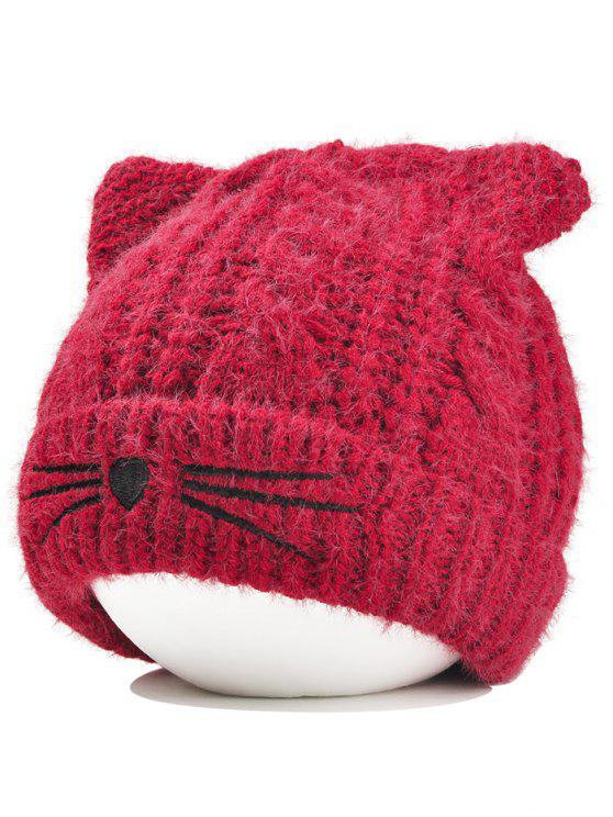 قبعة من الكروشيه بشكل أذني قطة - نبيذ أحمر