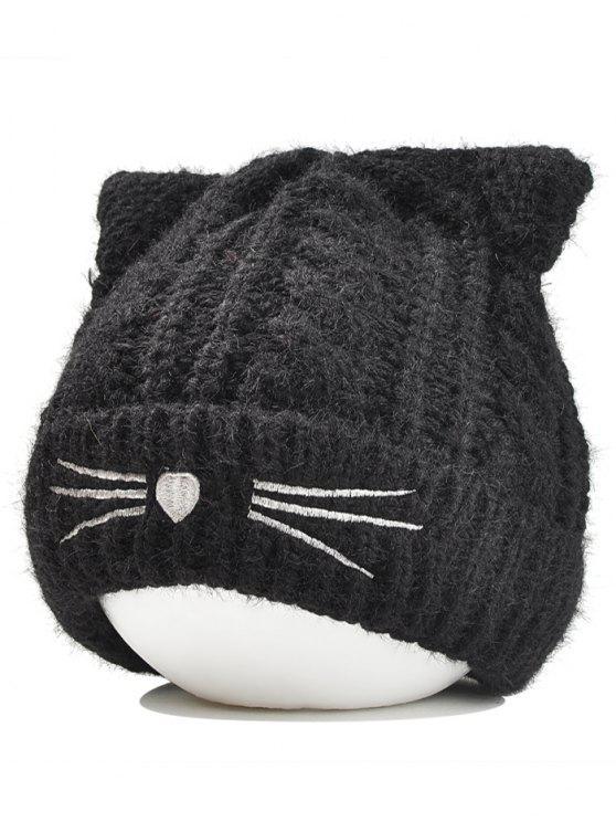 Gorro Ligero Hecho Punto Funny Kitty Ear Decoración - Negro