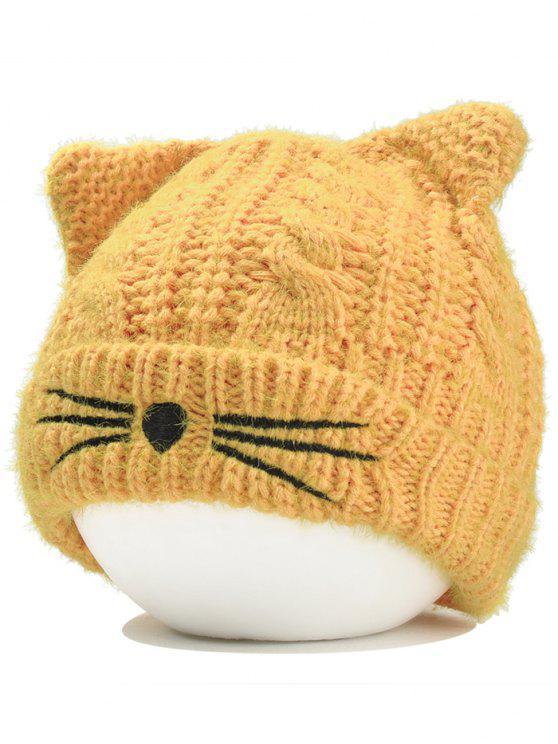 قبعة من الكروشيه بشكل أذني قطة - الأصفر