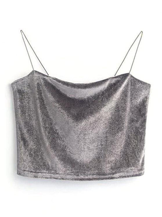 ladies Cropped Velvet Tank Top - GRAY ONE SIZE