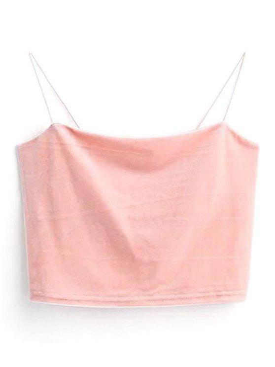 hot Cropped Velvet Tank Top - PINK ONE SIZE