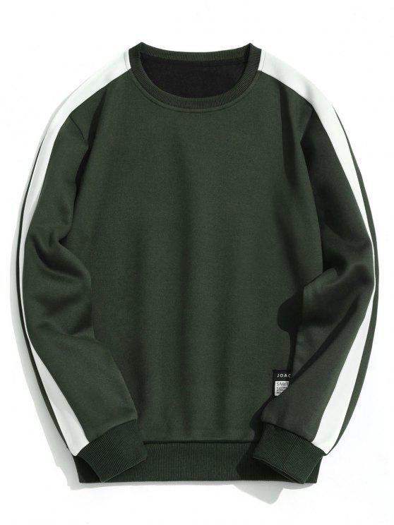 fashion Fleeced Two Tone Sweatshirt - ARMY GREEN XL