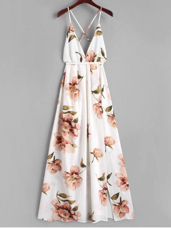 ladies Slit Floral Criss Cross Maxi Dress - WHITE M