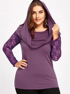 Plus Size Lace Insert Hoodie - Purple 3xl