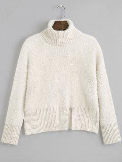 Slit Textured Turtleneck Sweater - Beige