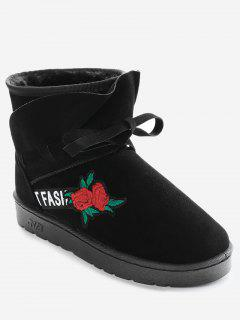 Bow Tie Floral Embroidery Slip On Ankle Boots - Black 36