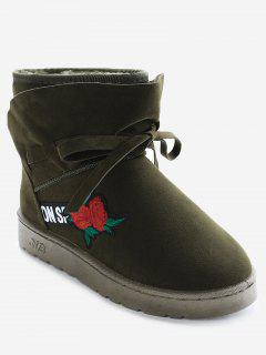 Bow Tie Floral Embroidery Slip On Ankle Boots - Army Green 36