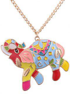 Letter Leaf Carve Elephant Pendant Necklace