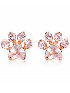 Kitty Paw Fake Diamond Stud Earrings - Rose Gold