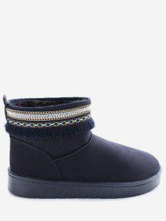 Slip On Low Heel Snow Boots - Blue 36