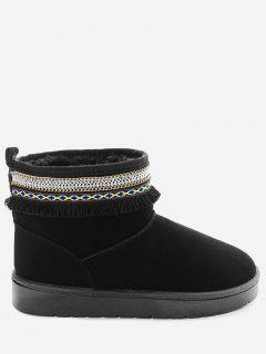 Slip On Low Heel Snow Boots - Black 39