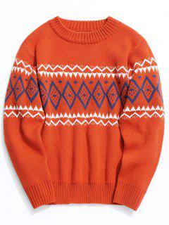 Intarsia - Pullover Mit Rundhalsausschnitt - Roter Zirkon M