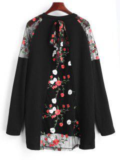 Camiseta Larga De Paneles De Malla Floral Semi Transparente - Negro S