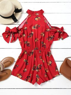 Cut Out Floral Cold Shoulder Romper - Red S